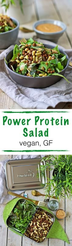 This #vegan and #glutenfree Power Protein Salad is the perfect answer to the question where vegans get their protein from. It's just overflowing with bean and lentil #protein power. Not only is it a great recipe for home snack attacks, it is also a lovely lunch to take with you to work. A highlight is also the lovely dressing made from peanut butter, tahini, tamari and more.