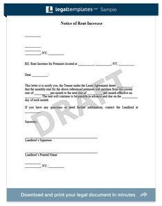 sample letter to increase rent