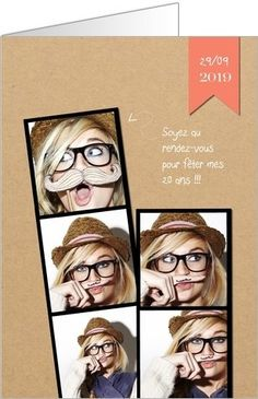 Carte d'invitation anniversaire photomaton : Que vous souhaitiez organiser une soirée chic ou au contraire complètement déjantée, il ne vous reste plus qu'à la personnaliser avec vos photos ! A partir de 0.62€ sur Popcarte.com
