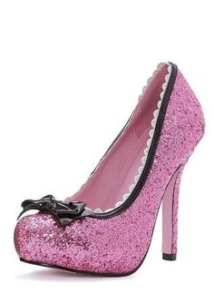 Pretty pink glitter heels