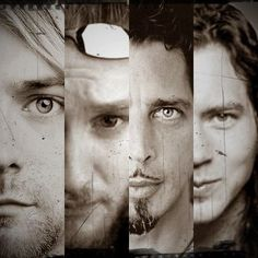 Kurt Cobain (Nirvana) Layne Staley (Alice in Chains) Chris Cornell (Soundgarden) Eddie Vedder (Pearl Jam) Grunge kings pocker if I may say Alice In Chains, Eddie Vedder, Chris Cornell, Martin Guitars, The Black Keys, Dave Matthews, Band Posters, Radiohead, Grateful Dead