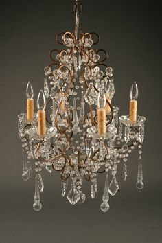 19th century Italian 6 arm iron and crystal antique chandelier with hand blown Venetian tear drops, circa 1890. #antique #chandelier #crystal #iron