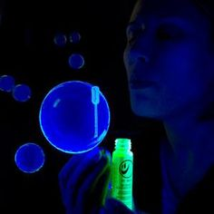 glow in the dark bubbles!  Cut open glow sticks and pour in bubble solution!  Brilliant!