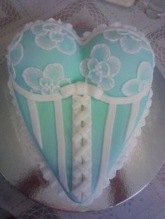 Lingerie bridal shower?  Corset cake with brush embroidery.