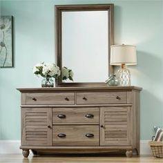 Sauder Harbor View Dresser and Mirror in Salt Oak - Sears