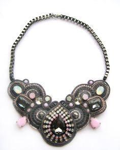 £120 #Swarovski #gunmetal #rosewater_opal #white_opal #sutasz #soutache #embroidery #statement #blackmarketjewels