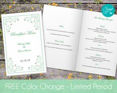"""Butterfly Wedding Program, Folded and Double-Sided  