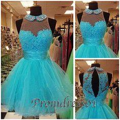 2015 cute turquoise lace organza high waist open back modest short prom dress for teens, ball gown, homecoming dress, evening dress #promdress