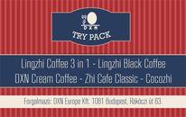 DXN Try Pack A csomag tartalma: DXN Cream Coffee (14 g) - 1 tasak Lingzhi Black Coffee (4,5 g) - 1 tasak Lingzhi Coffee 3in1 (21 g) - 1 tasak Zhi Cafe Classic (20 g) -  1 tasak Cocozhi (32 g) - 1 tasak