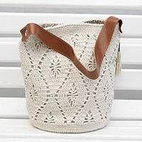 Cotton bucket bag, 'Diamond Crochet in Ivory'