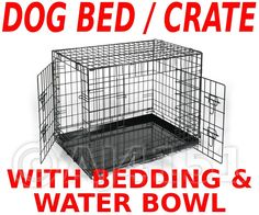 Metal Dog Crate Cage Carrier Metal Base & Bedding & Clip On Bowl Size Xl 42""