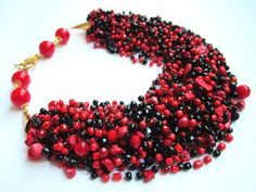 Red and black necklace  handmade beaded jewelry  от BagiraBijou