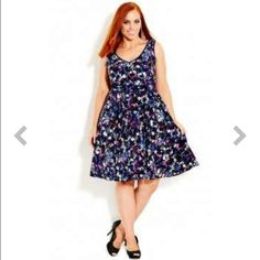 Floral Burst Dress- City Chic Flaunt your femininity in this chic dress. Flattering sleeveless A-line dress with a full skirt. Worn 2x. Material: 97% polyester, 3% stretch. Size: XL-22 (city chic sizing). Photo: stock. Pet and smoke free home. City Chic Dresses