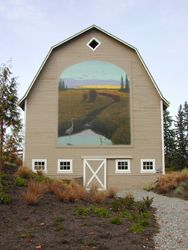 barn with gorgeous mural