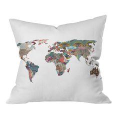 patchwork map pillow