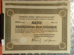254) 1000 Reichsmark Aktie Torpedo-Werke AG Fahrräder & Schreibmaschinen FfM | eBay