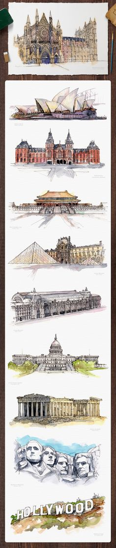 Architectural Landmarks Watercolor Paintings Part 1. By Mucahit Gayiran.