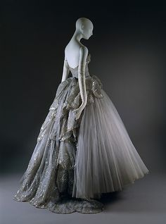 """""""Venus"""" House of Dior (French, founded 1947), Christian Dior (French, Granville 1905–1957 Montecatini), fall/winter 1949–50, silk, sequins, rhinestones, simulated pearls 