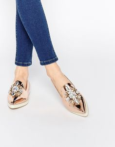 ASOS METAPHOR Embellished Flat Shoes | rose gold metallic crystal flats