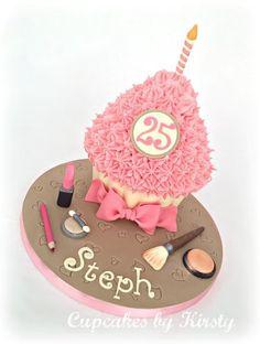 Girly Giant Cupcake - by Kirstywoo @ CakesDecor.com - cake decorating website