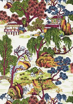 ASIAN SCENIC, Coral and Green, T75464, Collection Dynasty from Thibaut