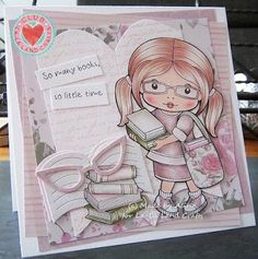 From our Design Team! Card by Alina Meijer-Petrescu featuring Club La-La Land Crafts May 2016 exclusive Marci with Books, Reading Marci stamp set and these Dies - Glasses, Open Book, Question/Exclamation, Book Brackets :-) Club La-La Land Crafts subscription details are here - http://lalalandcrafts.com/Club_La-La_Land_Crafts.html  Coloring details and more Design Team inspiration here -  http://lalalandcrafts.blogspot.ie/2016/05/club-la-la-land-crafts-may-2016-kit_24.html