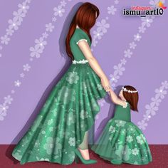Mother Daughter Art, Mother Daughter Pictures, Mother Art, Studying Girl, Cute Couple Art, Disney Princess Pictures, Girly Drawings, Stylish Dress Designs, Digital Art Girl