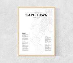 Cape Town map print Cape Town wall map Cape Town par LionartPrints