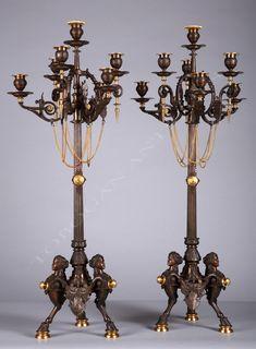 F. BarbediennePaire de candélabres néo-Grecs - Tobogan Antiques
