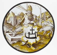 Roundel with Turkish Soldier holding an Arrow and Support, 1520–30. North Netherlandish. The Metropolitan Museum of Art, New York. The Cloisters Collection, 1932 (32.24.29) #Cloisters