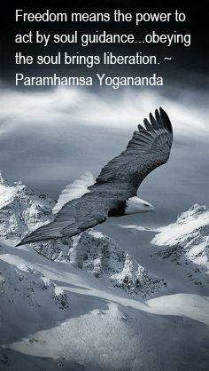 """Freedom means the power to act by soul guidance...obeying the soul brings liberation.""     Paramhamsa Yogananda"