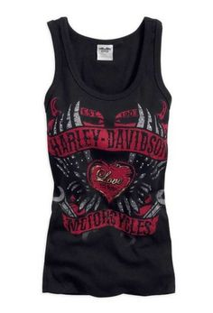 Harley-Davidson Women's Hearts & Wrenches Embellished Tank Top Black 96086-14VW