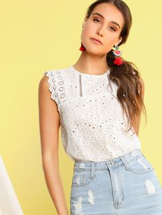 New DIDK Women's Sheer Embroidery Ruffle Trim Scallop Hem Eyelet Tank Top Blouse online shopping - Totrendyhot Fashion News, Fashion Outfits, Eyelet Top, Pretty Shirts, Lace Insert, Scalloped Hem, Blouse Online, Summer Shirts, Boho Tops