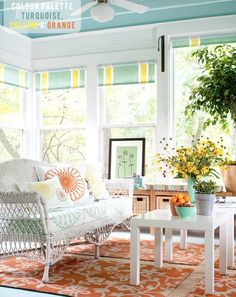 Colour Palette: Turquoise, Yellow   or consider turquoise, marigold, red-orange