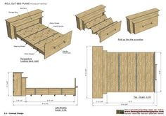 home garden plans: ROB100 - Roll Out Bed Plans Construction - Smart Bed - Smart Furniture
