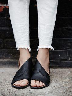 Black Slip On Sandals
