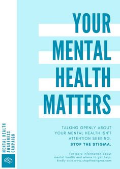 Blue and White Mental Health Poster
