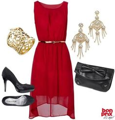 red & black outfit