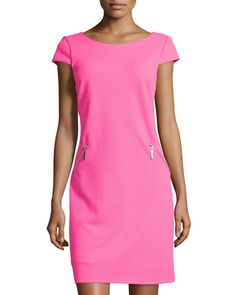 Chetta B Cap-Sleeve Zip-Pocket Sheath Dress, Fruit Punch Fruit Punch, Boat Neck Dress, Straight Dress, Classic Outfits, Sheath Dress, Neiman Marcus, Cap Sleeves, Dress Outfits, Your Style