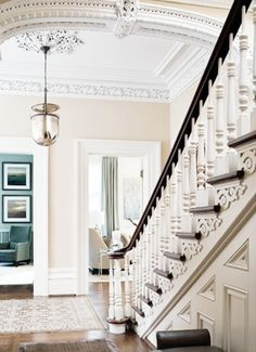 ornate + simple = beautiful  white-molding-staircase-