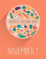 World Vegan Day vector illustration. Vegetable circle. Healthy nutrition. Cartoon design. Page template. November 1.