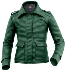 Leather Skin Women Green Rib Quilted Genuine Leather Jacket with Black Sleeves Green Leather Jackets, Long Leather Coat, Leather Jacket With Hood, Leather Skin, Red Leather, Jackets For Women, Clothes For Women, Women's Jackets, Quilted Leather