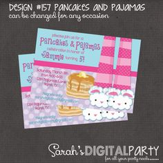 Pancakes and Pajama Party Invitation 4x6 or 5x7 digital you print your own- Design 157