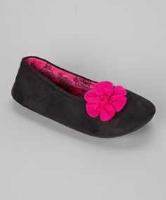 Take a look at this Black Flower Slipper by Laura Ashley on #zulily today!