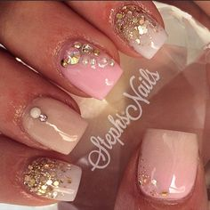 #simple#cute#littlenails#shetypes#shortnails#love#pink#nude#white#goldglitter#glitterombre#cutenails#notpolish#diamonds#pearls#acrylicnails#love#stephs#nails