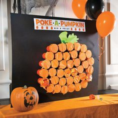 Are you looking for a fun game to play during your Halloween party? Then check out this awesome Classic Halloween Poke-a-Pumpkin Game Idea! (Halloween Games For Party) Halloween Class Party, Halloween Games For Kids, Halloween Carnival Games, Kindergarten Halloween Party, Childrens Halloween Party, Halloween Party Activities, Halloween Goodie Bags, Toddler Halloween Crafts, Halloween 1st Birthdays