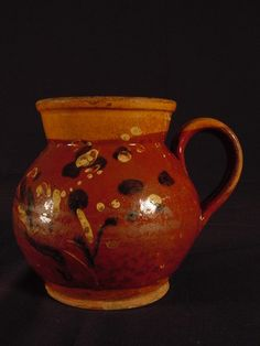 RARE EARLY 1800s MOCHA SLIP DECORATED REDWARE PITCHER