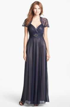 Betsy & Adam Lace Sleeve Pleated Mesh Gown | Nordstrom