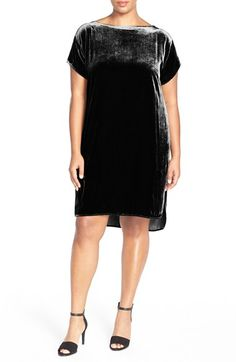 Eileen+Fisher+Bateau+Neck+Velvet+Shift+Dress+(Plus+Size)+available+at+#Nordstrom