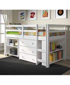 teen beds with storage underneath   White Loft Work & Storage Bed